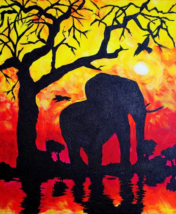 Safari painting, acrylic