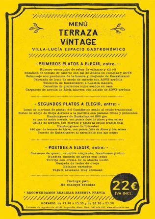 Menú Terraza Vintage Villa Lucía