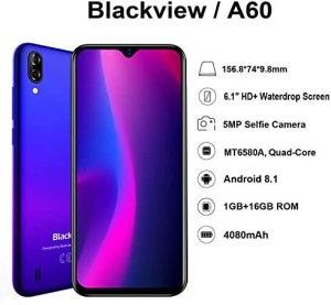 Blackview A60 Teléfono Móvil, Android 8.1 Smartphone Dual SIM con Pantalla 6.1-Inch Water-Drop Screen, 13MP+2MP+5MP, 16GB ROM (SD 128GB), 4080mAh Batería Smartphone Libre -Azul