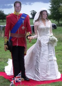 Homage in papier mache to the Duke and Duchess of Cambridge. Bisterne Scarecrow Festival 2011.