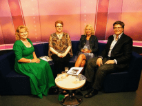Talk Solent chat show, August, 2015. Left to right, presenter Shan Robins, myself, Joan Ellis and B Jones. ©Come Step Back In Time