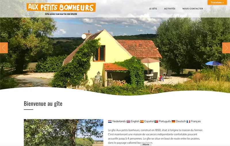 Aperçu du site Internet du gîte Aux Petits Bonheurs