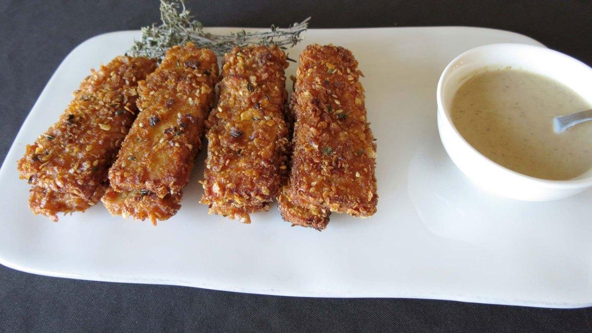 Tofu panado com Corn Flakes