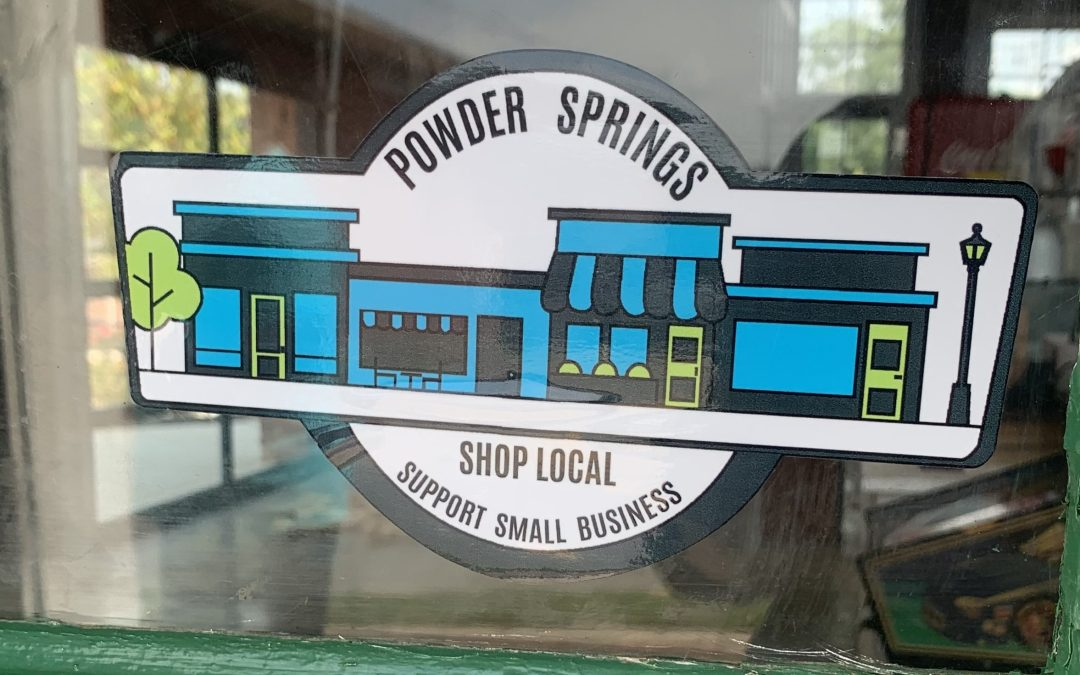 Picture of 'Shop Local' design close-up on store window