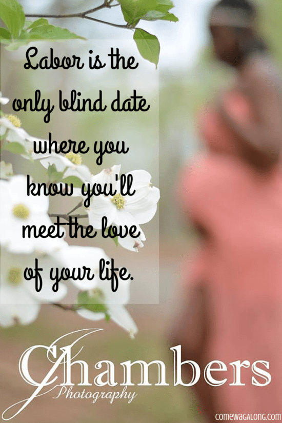 """Labor is the only blind date where you know you'll meet the love of your life"" - Visit ComeWagAlong.com for life with a dog, pregnancy updates, and more!"