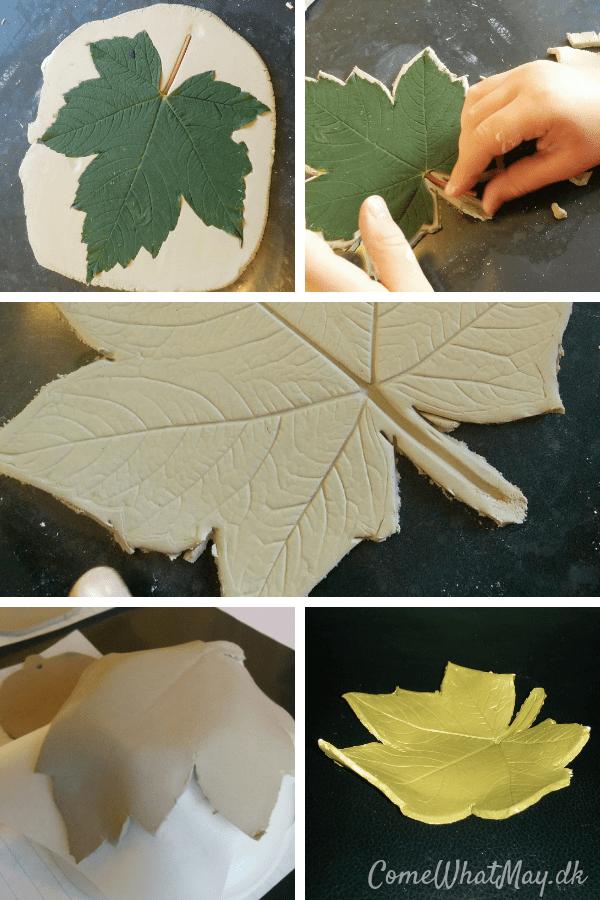 blad-aftryk skål i selvhærdende ler | DIY | cchobby | halloween pynt | efterår
