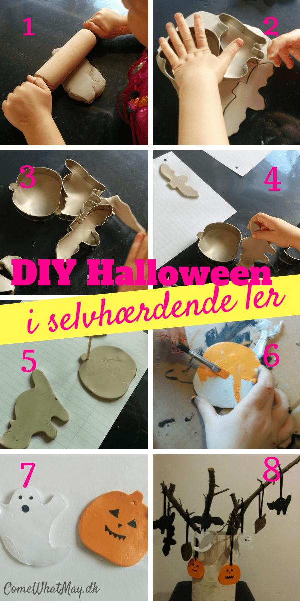 Halloween ophæng i selvhærdende ler | DIY | cchobby | spøgelse | græskar | kat | halloween pynt