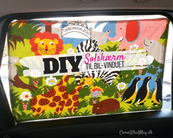 DIY solskærm til bilvinduet set indefra
