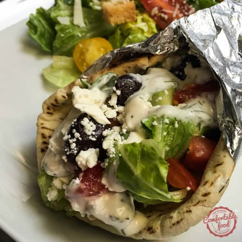 A Greek inspired stuffed pita recipe with chicken.
