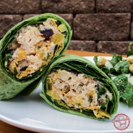 Spicy and creamy chipotle chicken salad wrap.