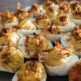 Curried deviled egg recipe - the perfect spicy twist on a classic.