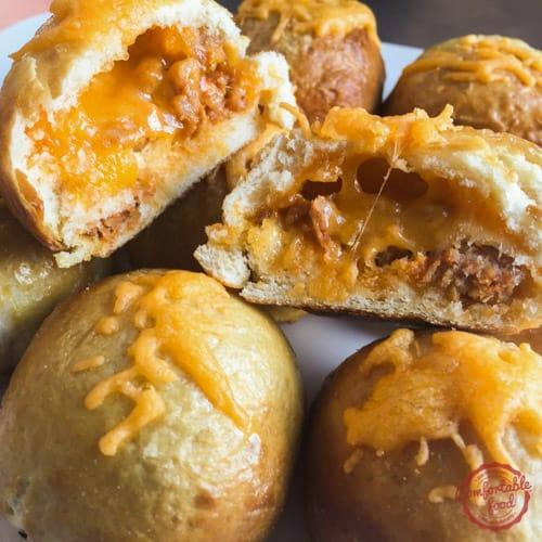 Cheesy and meaty stuffed pretzel balls.