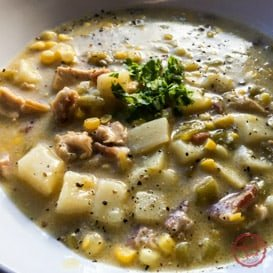 Rich and spicy green chile chicken corn chowder recipe.