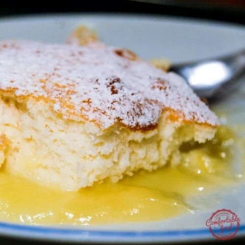 An easy recipe for a sweet and tart lemon pudding cake.