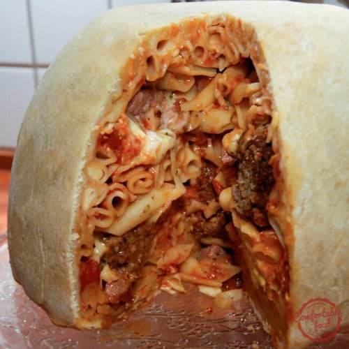 Big and hearty - the Timpano pasta dome.