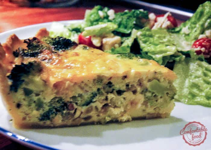 A Broccoli and Shallot Cheddar Quiche Recipe.