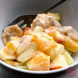 A zesty fruit salad with sour cream dressing.