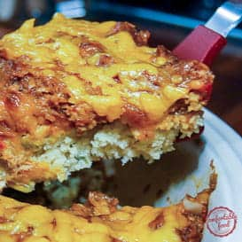 A Cornbread Pie with BBQ Chicken from Comfortable Food.