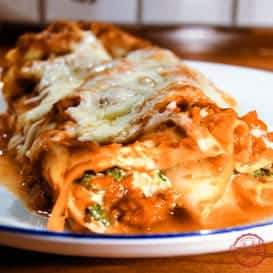 A Four Cheese Manicotti Recipe with Spinach.