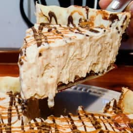 Super creamy Peanut Butter Pie with chocolate.