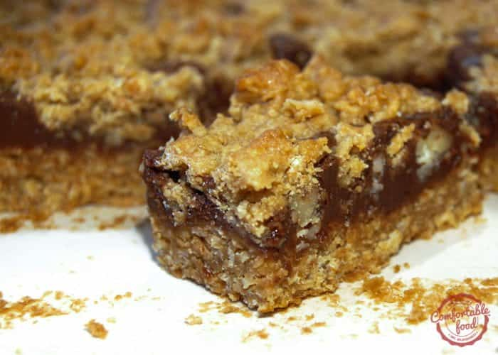 Dense and chewy oatmeal fudge bar recipe.