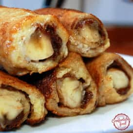 Super easy and delicious Nutella and Banana French Toast Roll Ups.