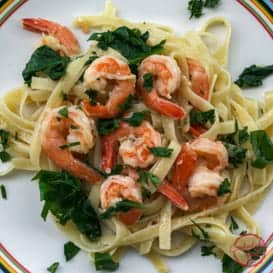 This Shrimp Spinach Pasta Recipe is light and full of flavor.