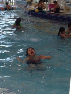 Synchronized swimmer novice.