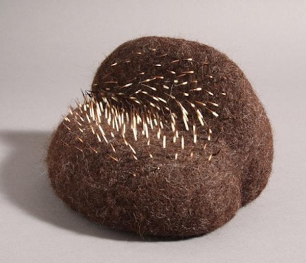 "Stephanie Metz ""Amorphozoa #9"" Felted wool, porcupine quills 6.5"" x 7"" x 6.5"" 2009"