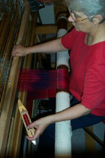 Laura Fry at the loom