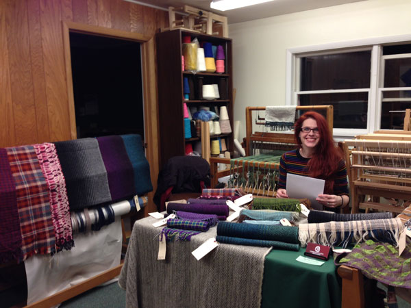 Going over some paper work while I am selling some of my handwovens at the Adirondack Folk School this past holiday season.