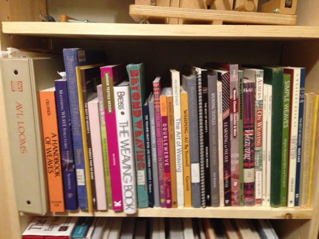 A few of my many weaving books that range from simple weave structures to more advanced drafts.