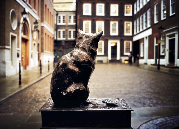 Statue of Hodge outside Dr. Johnson's house, Gough Square, London
