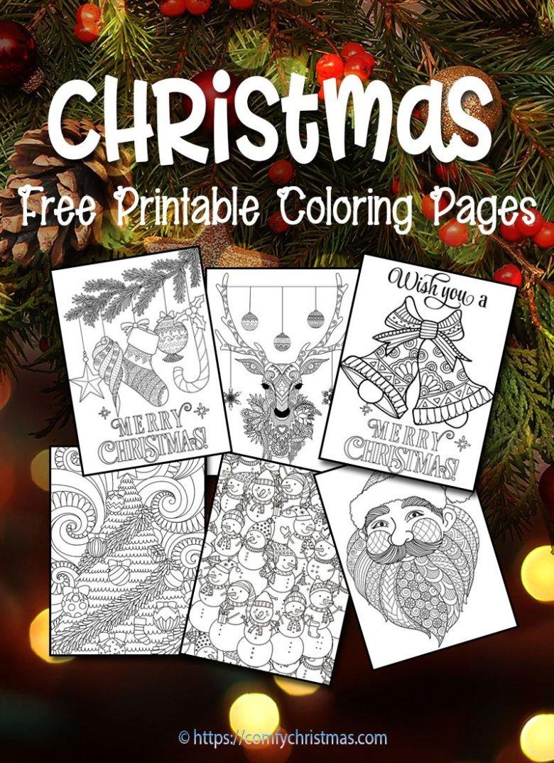 free printable christmas coloring pages • comfy christmas