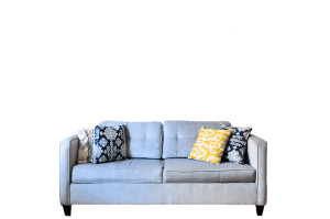 large sofa with bright cushion