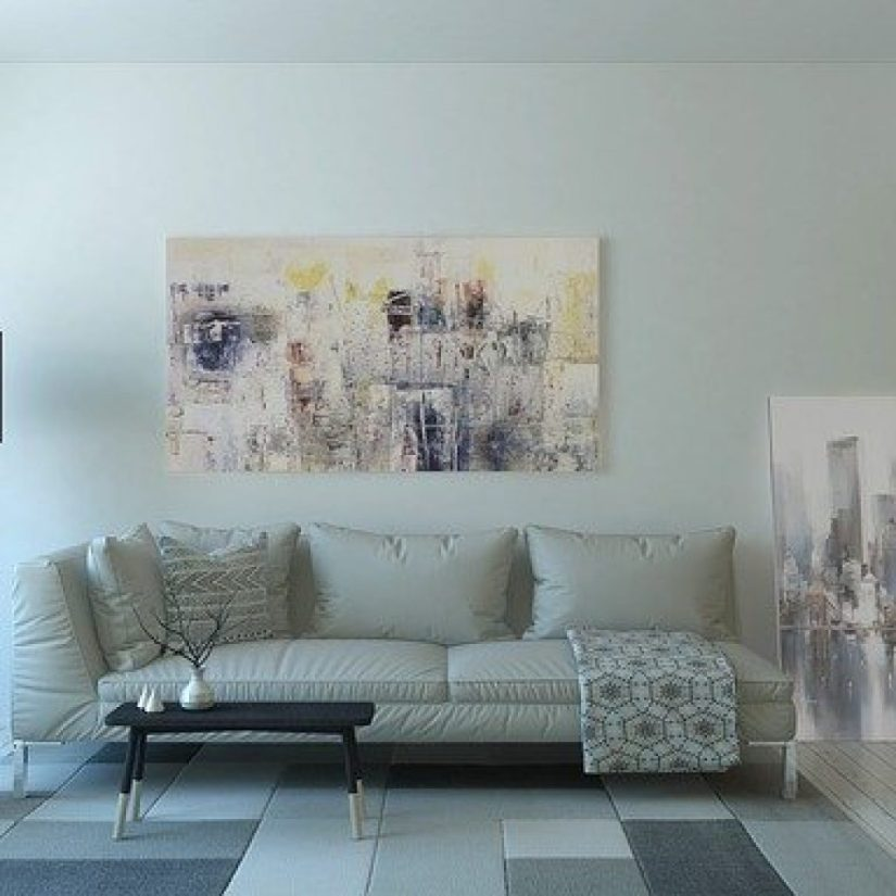 white sofa with paint