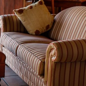 a stripped settee