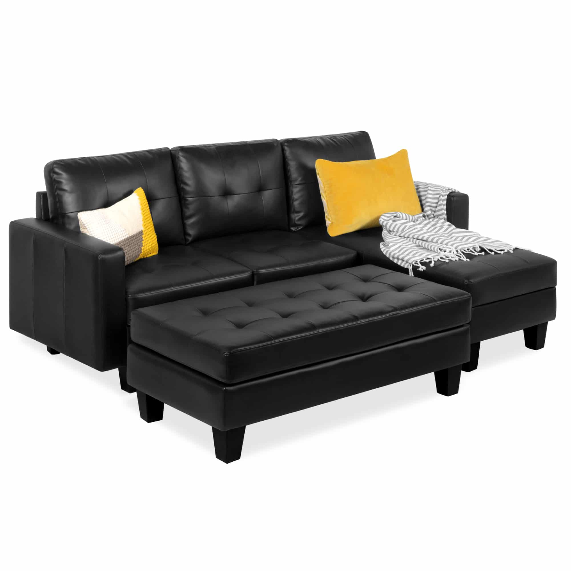 Best Choice Products Tufted Faux Leather 3-Seat L-Shape Sectional Sofa