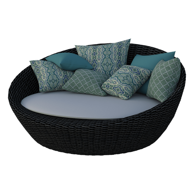 round rattan sofa with cushions