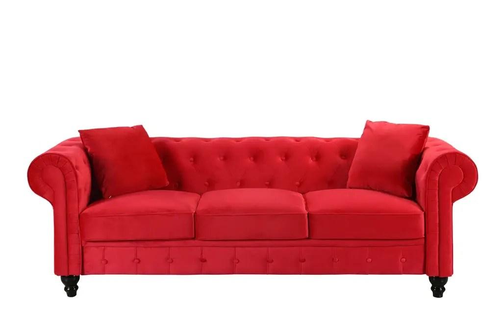 Royal-Victorian-Style-Velvet-Chesterfield-Sofa-red