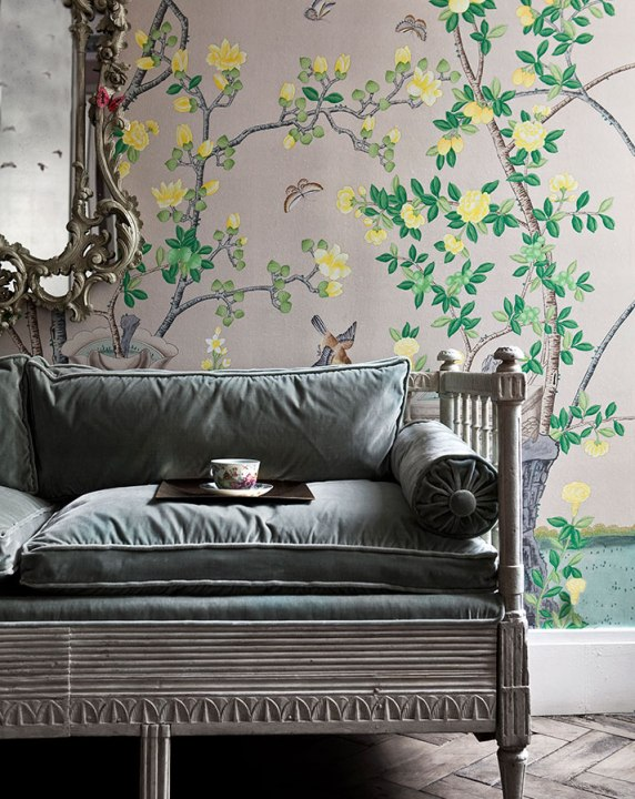 Jardinieres Citrus Trees wallpaper in full custom design colours on custom Mica metallic xuan paper. de Gournay hand carved Swedish Settle in original antique finish upholstered in Eucalyptus silk velvet.jpg