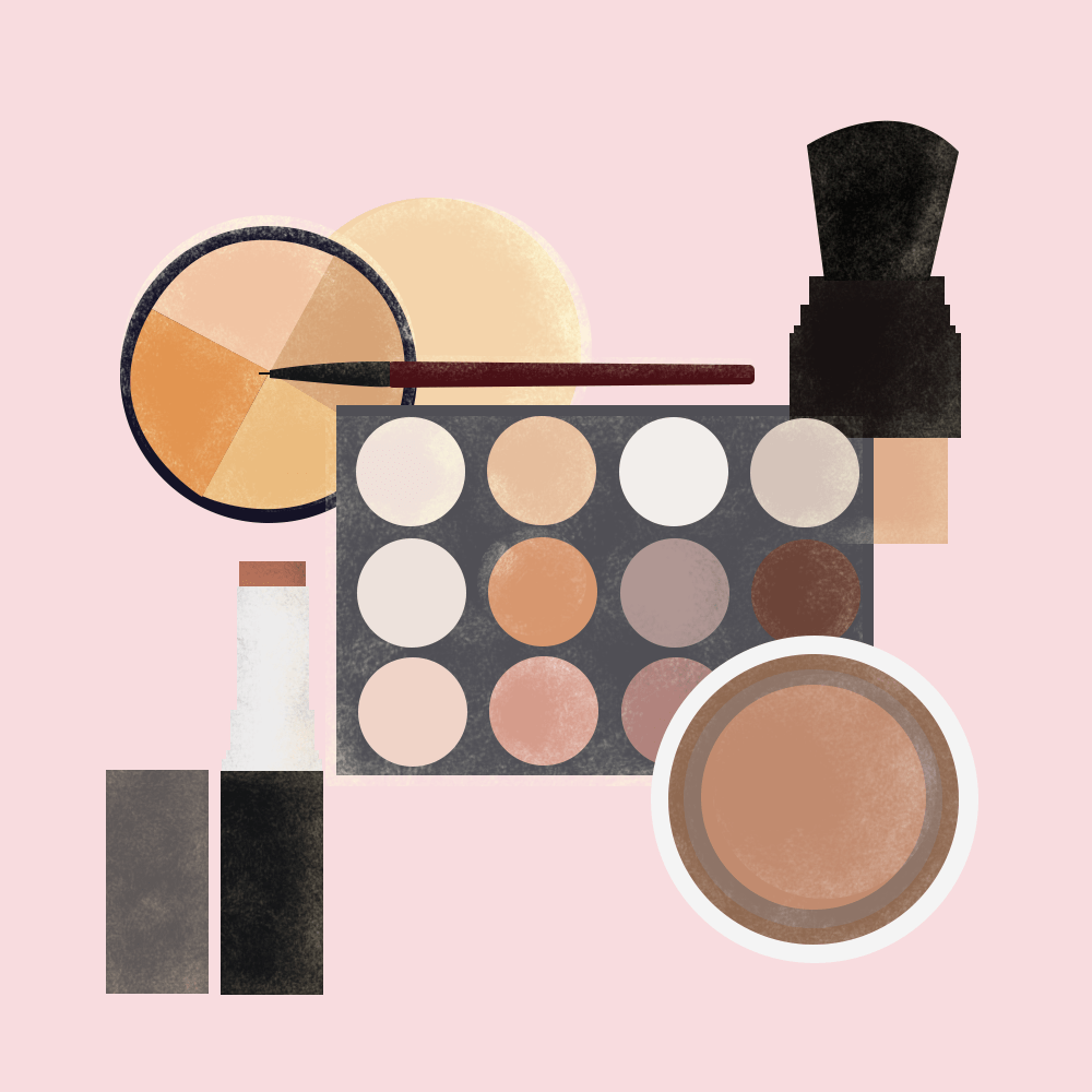 Illustration of no-makeup makeup products