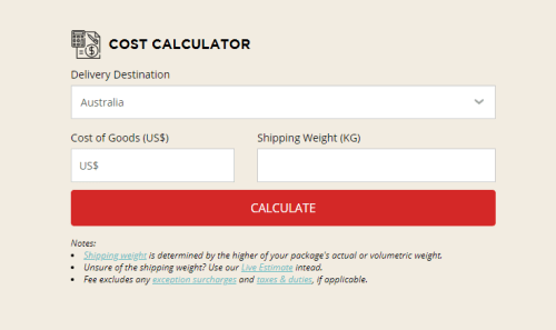 comGateway's cost calculator