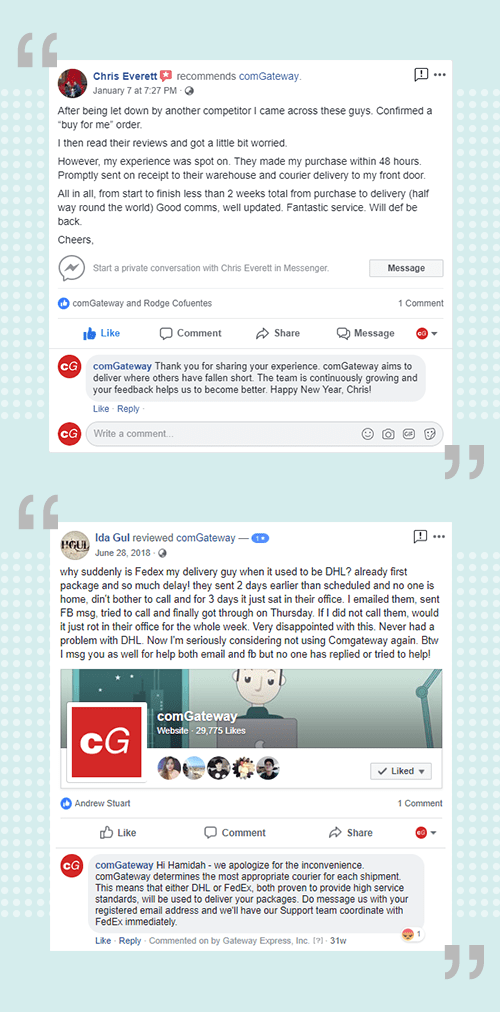 comGateway Facebook reviews