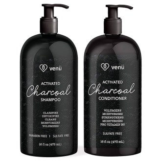 Venu activated charcoal keratin shampoo and conditioner bundle