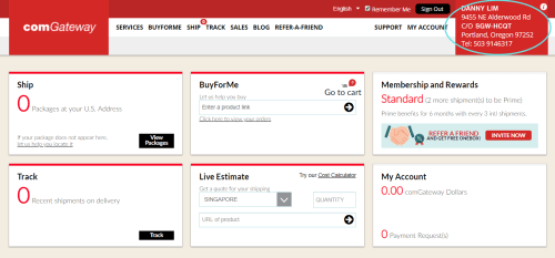 screenshot of comGateway dashboard with US address highlighted