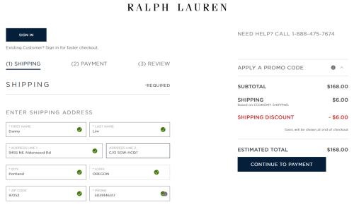 screenshot of Ralph Lauren US online store shipping address