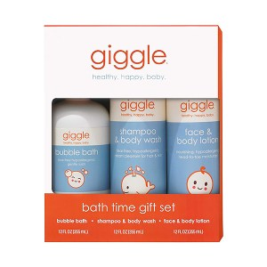 Giggle Bath Time gift set complete with bubble bath, shampoo & body wash, and face & body lotion
