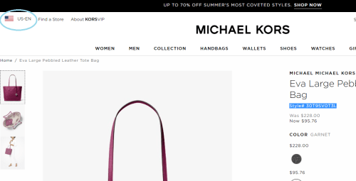 Michael Kors US online store screenshot