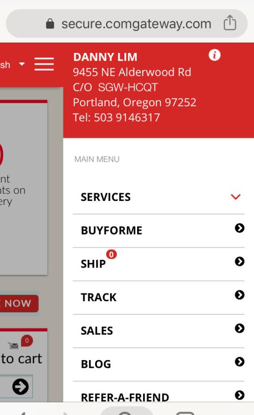 screenshot of comGateway mobile website showing the US address